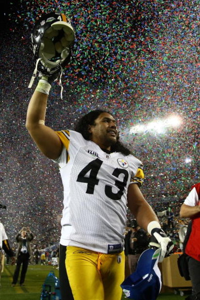 TAMPA, FL - FEBRUARY 01:  Troy Polamalu #43 of the Pittsburgh Steelers celebrates as confetti falls after they 27-23 win against the Arizona Cardinals during Super Bowl XLIII on February 1, 2009 at Raymond James Stadium in Tampa, Florida.  (Photo by Chris