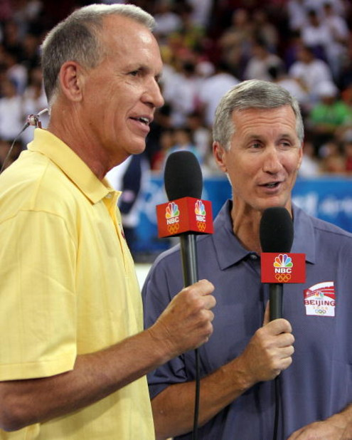BEIJING - AUGUST 16:  (L-R) Doug Collins and Mike Breen of NBC Sports talk on the air before the United Sates men's basketball team takes on Spain during the group B preliminary basketball game at the Beijing Olympic Basketball Gymnasium on Day 8 of the B