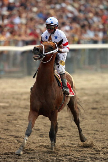 ELMONT, NY - JUNE 07:  Big Brown ridden by jockey Kent Desormeaux, limps down the final stretch of the 140th running of the Belmont Stakes at Belmont Park on June 7, 2008 in Elmont, New York.  (Photo by Al Bello/Getty Images)