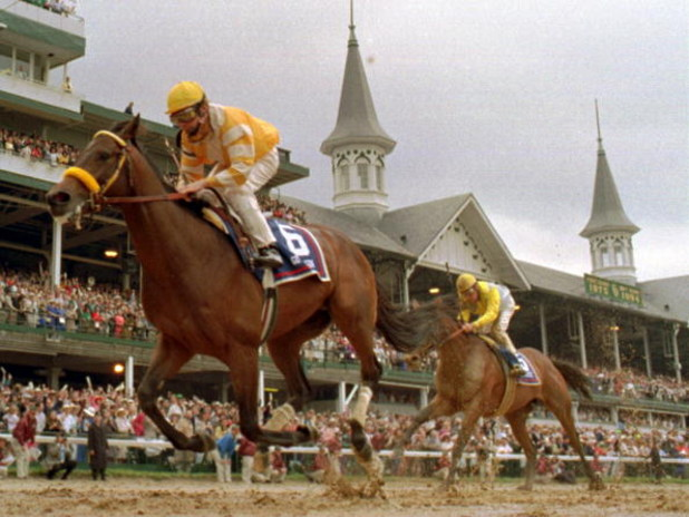 7 MAY 1994:  GO FOR GIN, JOCKEYED BY CHRIS MCCARRON, LEFT, BEATS THE FIELD FOR THE 120TH KENTUCKY DERBY. TO THE LEFT IS THE SECOND PLACE  HORSE STRODES CREEK JOCKEYED BY EDDIE DELAHAYOUSSAYE.  Mandatory Credit: Doug Pensinger/ALLSPORT