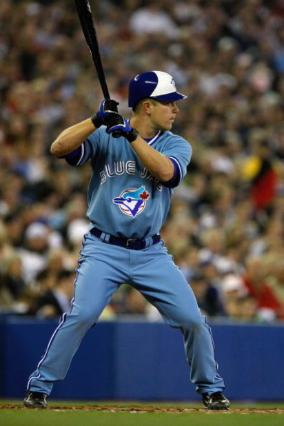 TORONTO - APRIL 4:  Aaron Hill #2 of the Toronto Blue Jays bats against the Boston Red Sox during the game at Rogers Centre on April 4, 2008 in Toronto, Ontario. (Photo by Dave Sandford/Getty Images)