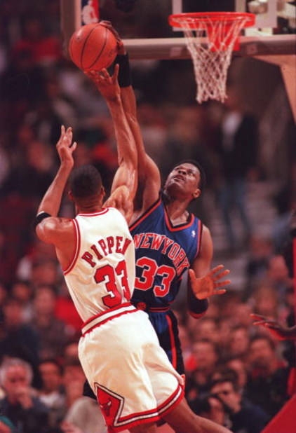 14 Mar 1996:  Center Patrick Ewing of the New York Knicks blocks the shot of Scottie Pippen of the Chicago Bulls during the Knicks 94-81 loss to the Chicago Bulls at the United Center in Chicago, Illinois.  Mandatory Credit: Doug Pensinger/Allsport
