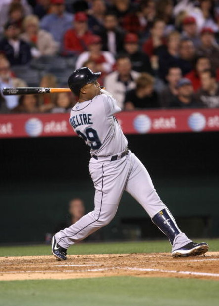 ANAHEIM, CA - APRIL 24:  Adrian Beltre #29 of the Seattle Mariners bats against the Los Angeles Angels of Anaheim on April 24, 2009 at Angel Stadium in Anaheim, California. The Mariners won 8-3.  (Photo by Stephen Dunn/Getty Images)
