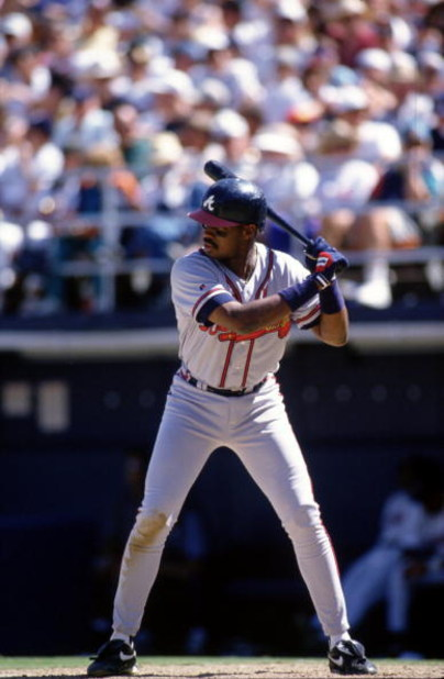 14  Apr 1996:  First baseman Fred McGriff of the Atlanta Braves stares back at the pitchers mound as he awaits the ball during an at-bat in the Braves 4-0 victory over the San Diego Padres at Jack Murphy Stadium in San Diego, California.    Mandatory Cred