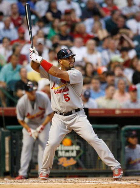HOUSTON - APRIL 07:  First baseman Albert Pujols #5 of the St. Louis Cardinals bats against the Houston Astros during the second  inning on April 7, 2008 at Minute Maid Park In Houston, Texas.  (Photo by Bob Levey/Getty Images)