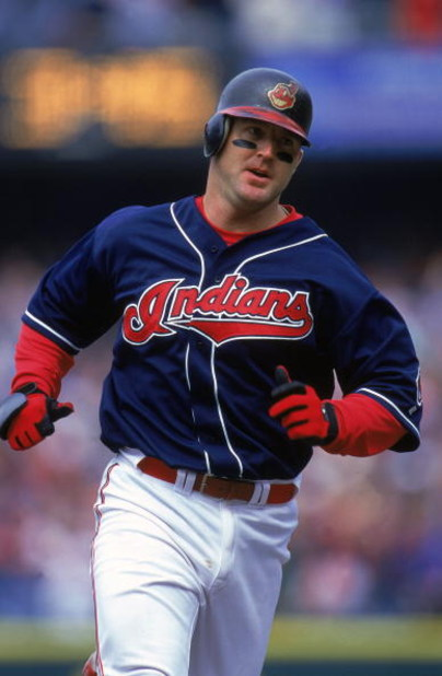 16 Apr 2000: Jim Thome #24 of the Cleveland Indians running during the game against the Texas Rangers at Jacobs Field in Cleveland, Ohio. The Indians defeated the Rangers 2-1. Mandatory Credit: Harry How  /Allsport