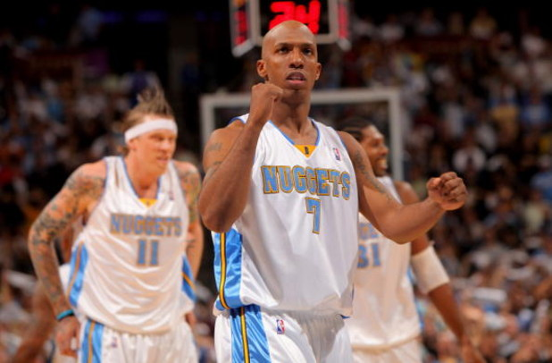 DENVER - MAY 05:  Chauncey Billups #7 of the Denver Nuggets reacts as the Nuggets take a 15-point lead in the fourth quarter against the Dallas Mavericks in Game Two of the Western Conference Semifinals during the 2009 NBA Playoffs at Pepsi Center on May