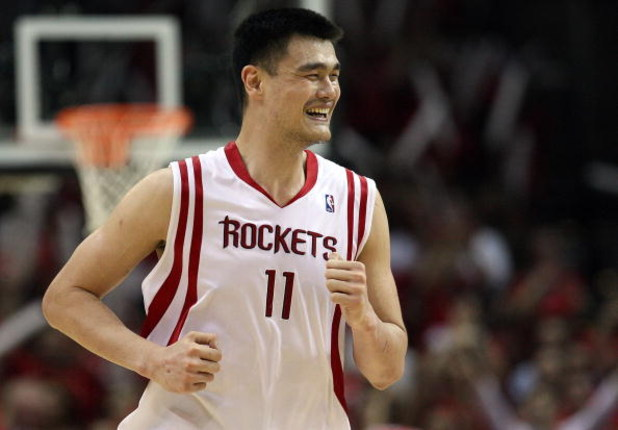 HOUSTON - APRIL 30:  Center Yao Ming #11 of the Houston Rockets reacts during play against the Portland Trail Blazers in Game Six of the Western Conference Quarterfinals during the 2009 NBA Playoffs at Toyota Center on April 30, 2009 in Houston, Texas. NO