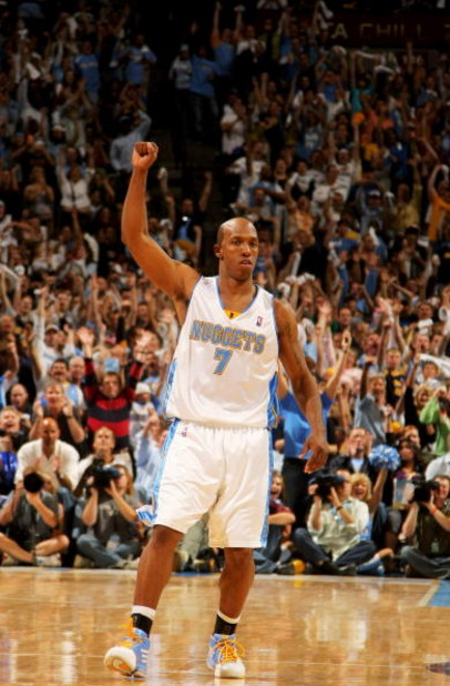 DENVER - MAY 05:  Chauncey Billups #7 of the Denver Nuggets reacts after scroing against the Dallas Mavericks in the fourth quarter in Game Two of the Western Conference Semifinals during the 2009 NBA Playoffs at Pepsi Center on May 5, 2009 in Denver, Col