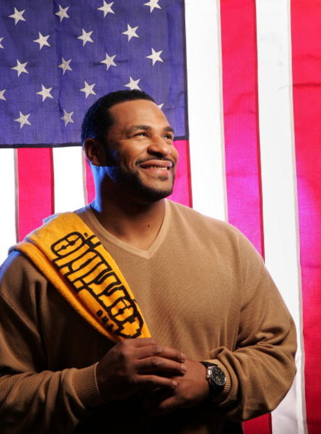 TURIN - FEBRUARY 20:  (US TV OUT) Retired NFL player and Super Bowl Champion Jerome Bettis poses for a photo after appearing on NBC's Today Show during the Turin 2006 Winter Olympic Games February 20, 2006 in Turin, Italy. It has just been announced that