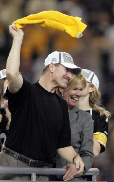 DETROIT - FEBRUARY 05: Head coach Bill Cowher of the Pittsburgh Steelers celebrates by waving a 'terrible towel' after defeating the Seattle Seahawks in Super Bowl XL at Ford Field on February 5, 2006 in Detroit, Michigan.The Steelers defeated the Seahawk