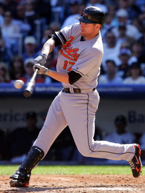 NEW YORK - SEPTEMBER 20: Aubrey Huff #17 of the Baltimore Orioles bats against the New York Yankees on September 20, 2008 at Yankee Stadium in the Bronx borough of New York City. The Yankees defeated the Orioles 1-0.  (Photo by Jim McIsaac/Getty Images)