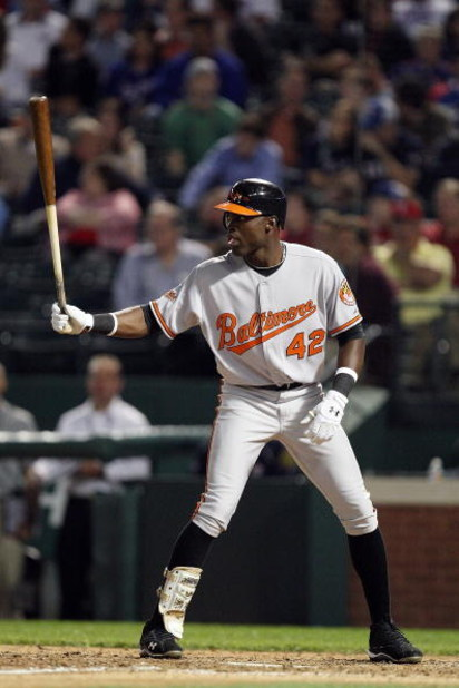 ARLINGTON, TX - APRIL 15:  Felix Pie of the Baltimore Orioles at bat while wearing jersey #42 to commemorate Jackie Robinson day during a game against the Texas Rangers on April 15, 2009 at Rangers Ballpark in Arlington, Texas.  (Photo by Ronald Martinez/