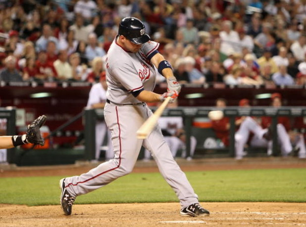 PHOENIX - MAY 08:  Ryan Zimmerman #11 of the Washington Nationals bats against the Arizona Diamondbacks during the game at Chase Field on May 8, 2009 in Phoenix, Arizona. The Nationals defeated the Diamondbacks 5-4.  (Photo by Christian Petersen/Getty Ima