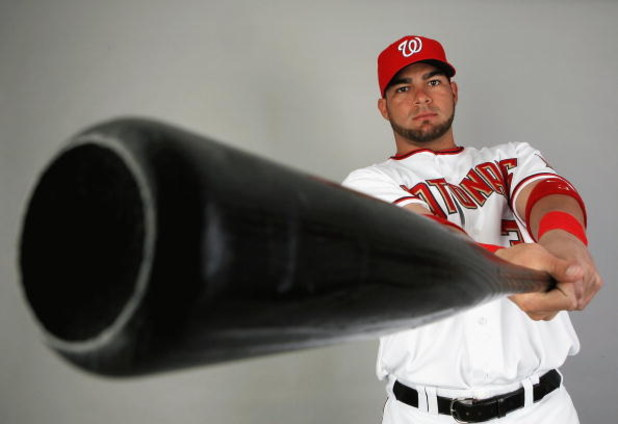 VIERA, FL - FEBRUARY 21:  Jesus Flores #3 of the Washington Nationals poses during photo day at Roger Dean Stadium on February 21, 2009 in Viera, Florida.  (Photo by Doug Benc/Getty Images)
