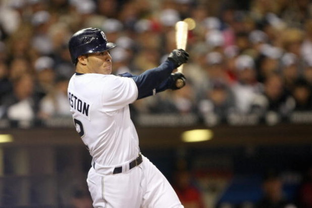 SAN DIEGO - MARCH 31: Scott Hairston #12 of the San Diego Padres swings at the pitch during the Opening Day game against the Houston Astros  on March 31, 2008 at Petco Park in San Diego, California. (Photo by: Stephen Dunn/Getty Images)