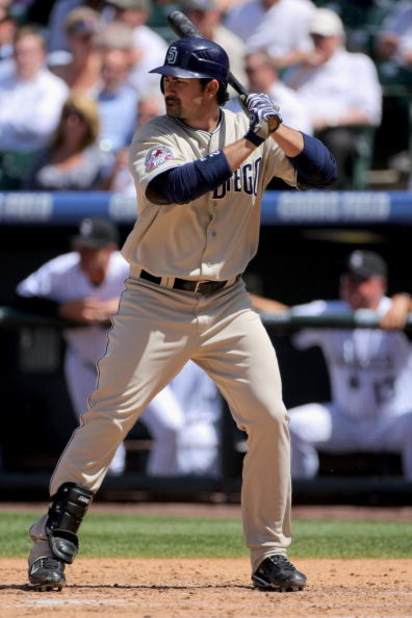 DENVER - APRIL 29:  First baseman Adrian Gonzalez #23 of the San Diego Padres takes an at bat against the Colorado Rockies during MLB action at Coors Field on April 29, 2009 in Denver, Colorado. The Rockies defeated the Padres 7-5.  (Photo by Doug Pensing