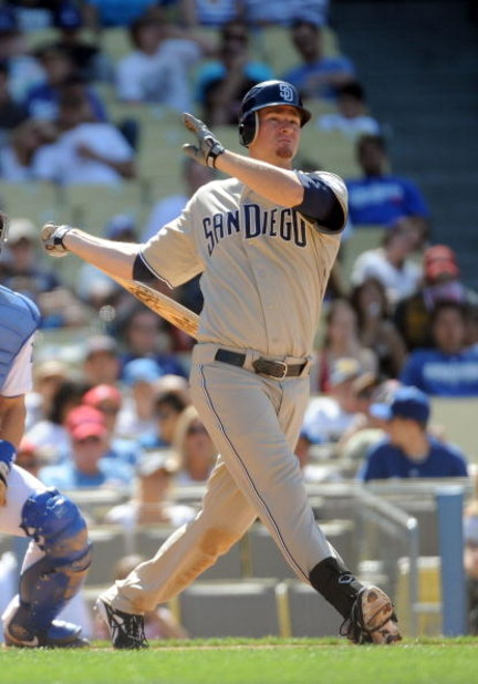 LOS ANGELES, CA - MAY 03:  Chase Headley #7 of the San Diego Padres watches his foul ball against the Los Angeles Dodgers at Dodger Stadium on May 3, 2009 in Los Angeles, California.  (Photo by Harry How/Getty Images)
