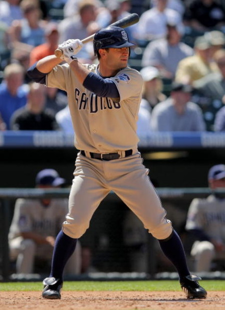 DENVER - APRIL 29:  Chris Burke #8 of the San Diego Padres pinch hits against the Colorado Rockies during MLB action at Coors Field on April 29, 2009 in Denver, Colorado. The Rockies defeated the Padres 7-5.  (Photo by Doug Pensinger/Getty Images)