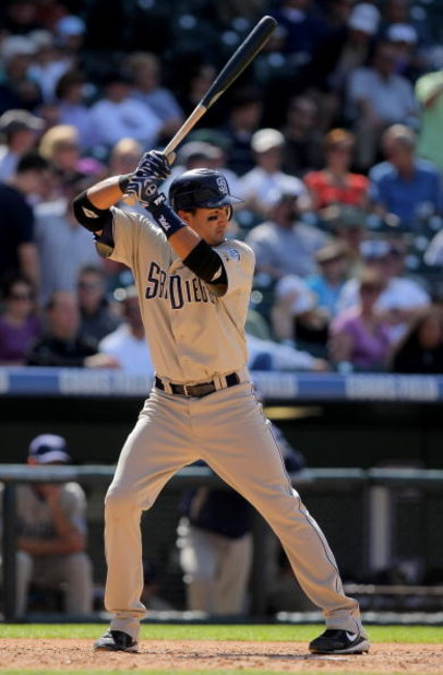 DENVER - APRIL 29:  Second baseman Edgar Gonzalez #2 of the San Diego Padres takes an at bat against the Colorado Rockies during MLB action at Coors Field on April 29, 2009 in Denver, Colorado. The Rockies defeated the Padres 7-5.  (Photo by Doug Pensinge