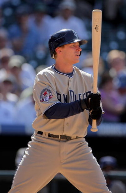 DENVER - APRIL 29:  David Eckstein #3 of the San Diego Padres pinch hits against the Colorado Rockies during MLB action at Coors Field on April 29, 2009 in Denver, Colorado. The Rockies defeated the Padres 7-5.  (Photo by Doug Pensinger/Getty Images)