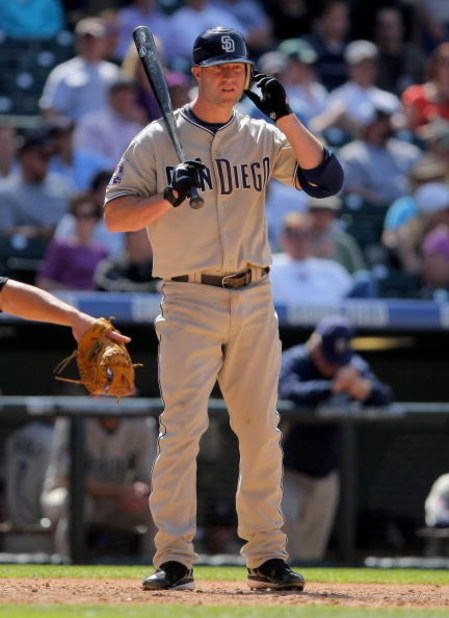 DENVER - APRIL 29:  Third baseman Kevin Kouzmanoff #5 of the San Diego Padres takes an at bat against the Colorado Rockies during MLB action at Coors Field on April 29, 2009 in Denver, Colorado. The Rockies defeated the Padres 7-5.  (Photo by Doug Pensing