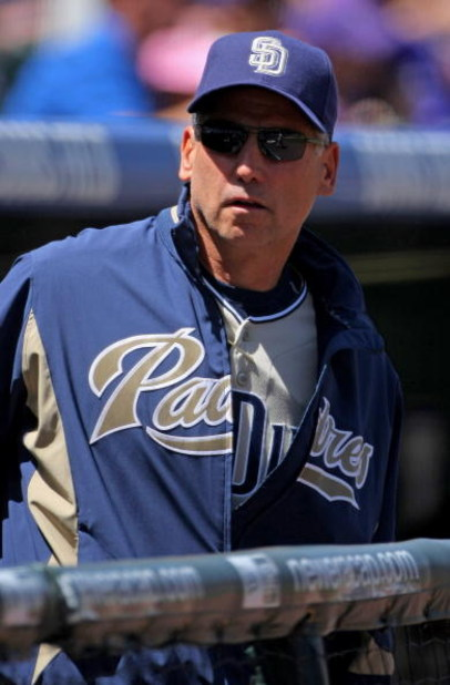 DENVER - APRIL 29:  Manager Bud Black #20 of the San Diego Padres watches the action from the dugout against the Colorado Rockies during MLB action at Coors Field on April 29, 2009 in Denver, Colorado. The Rockies defeated the Padres 7-5.  (Photo by Doug
