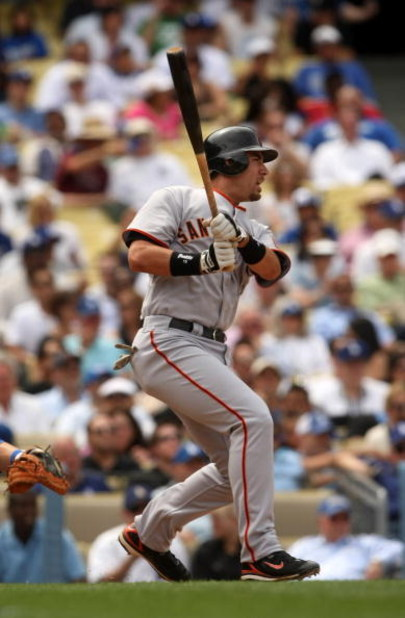 LOS ANGELES, CA - APRIL 13:  Travis Ishikawa #10 of the San Francisco Giants bats against the Los Angeles Dodgers on April 13, 2009 at Dodger Stadiium in Los Angeles, California.  The Dodgers won 11-1.  (Photo by Stephen Dunn/Getty Images)