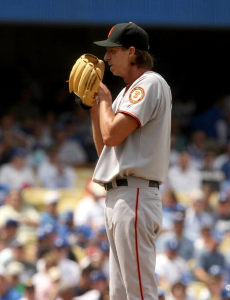 LOS ANGELES, CA - APRIL 13:  Pitcher Randy Johnson #51 of the San Francisco Giants sets to throw a pitch during the game with the Los Angeles Dodgers on April 13, 2009 at Dodger Stadiium in Los Angeles, California.  The Dodgers won 11-1.  (Photo by Stephe