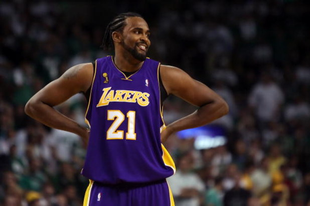 BOSTON - JUNE 05:  Ronny Turiaf #21 of the Los Angeles Lakers looks on while taking on the Boston Celtics in Game One of the 2008 NBA Finals on June 5, 2008 at TD Banknorth Garden in Boston, Massachusetts. NOTE TO USER: User expressly acknowledges and agr
