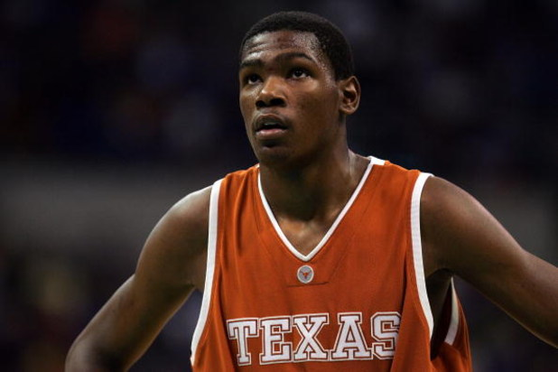 OKLAHOMA CITY - MARCH 11:  Guard Kevin Durant #35 of the Texas Longhorns pauses during the finals of the Phillips 66 Big 12 Men's Basketball Championship against the Texas Longhorns at the Ford Center March 11, 2007 in Oklahoma City, Oklahoma.  (Photo by