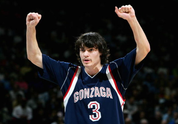 OAKLAND, CA - MARCH 23:  Adam Morrison #3 of the Gonzaga Bulldogs calls a play against the UCLA Bruins during the third round game of the NCAA Division I Men's Basketball Tournament at the Arena in Oakland on March 23, 2006 in Oakland, California.  (Photo