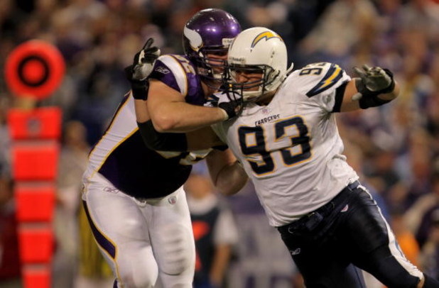 MINNEAPOLIS, MN - NOVEMBER 04:  Defensive end Louis Castillo #93 of the San Diego Chargers tries to get around the block of offensive tackle Ryan Cook #62 of the Minnesota Vikings at the Hubert H. Humphrey Metrodome on November 4, 2007 in Minneapolis, Min