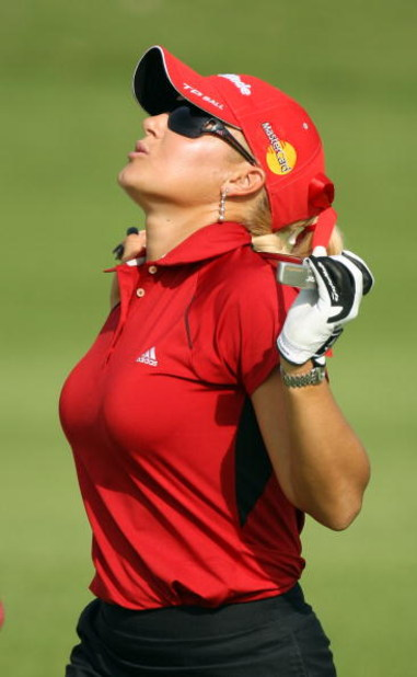 SINGAPORE - MARCH 06:  Natalie Gulbis of the USA on the par four 2nd hold during the second round of HSBC Women's Champions at the Tanah Merah Country Club on March 6, 2009 in Singapore.  (Photo by Ross Kinnaird/Getty Images)