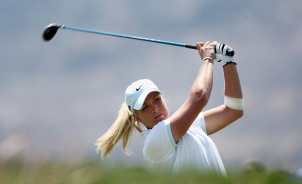 MORELIA, MEXICO- APRIL 26:  Suzann Pettersen of Norway tees off the 11th hole during the final round of the Corona Championship at the Tres Marias Residential Golf Club on April 26, 2009 in Morelia, Michoacan, Mexico. (Photo by Donald Miralle/Getty Images