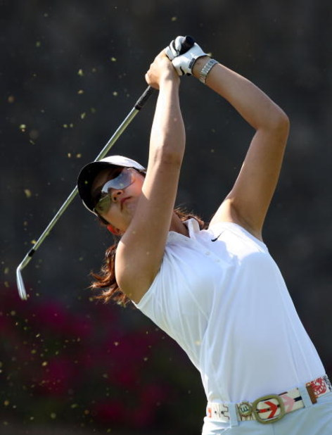 MORELIA, MEXICO- APRIL 24:  Michelle Wie tees off the 6th hole during the second round of the Corona Championship at the Tres Marias Residential Golf Club on April 24, 2009 in Morelia, Michoacan, Mexico. (Photo by Donald Miralle/Getty Images)