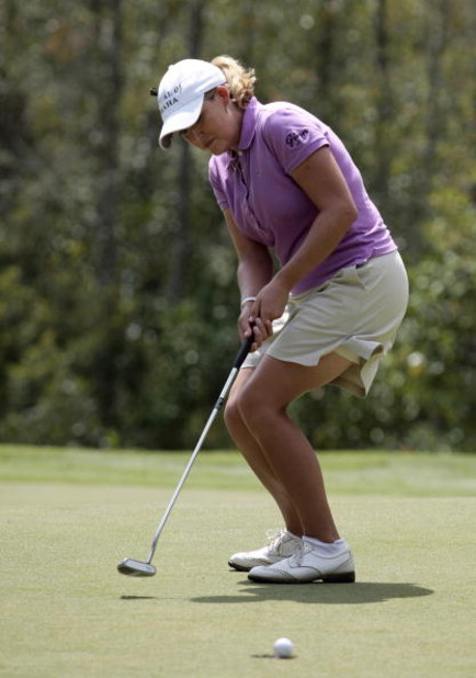 MOBILE, AL - SEPTEMBER 12:  Crisitie Kerr reacts as her birdie putt lips out of the 8th hole during second round play in the Bell Micro LPGA Classic at Magnolia Grove Golf Course on September 12, 2008 in Mobile, Alabama.  (Photo by Dave Martin/Getty Image