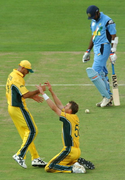 JOHANNESBURG - MARCH 23:   Brett Lee of Australia celebrates a wicket with Andrew Symonds of Australia during the ICC Cricket World Cup Final between Australia and India held on March 23, 2003 at The Wanderers in Johannesburg, South Africa.  Australia won