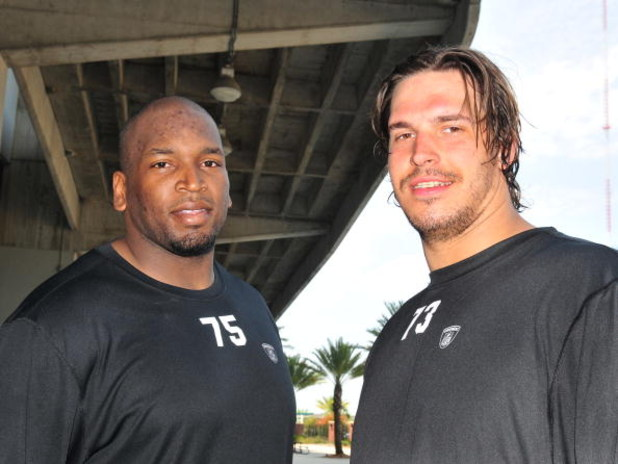 JACKSONVILLE, FL - MAY 1:  Tackles Eugene Monroe #75 and Eben Britton #73 of the Jacksonville Jaguars team up May 1, 2009 at a team minicamp near Jacksonville Municipal Stadium in Jacksonville, Florida.  Monroe and Britton were the team's top two draft pi