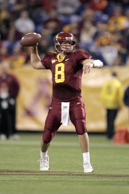 MINNEAPOLIS - NOVEMBER 17: Quarterback Adam Weber #8 of the Minnesota Golden Gophers passes the ball during the first half of the game against the Wisconsin Badgers at the Hubert H. Humphrey Metrodome November 17, 2007 in Minneapolis, Minnesota. (Photo by