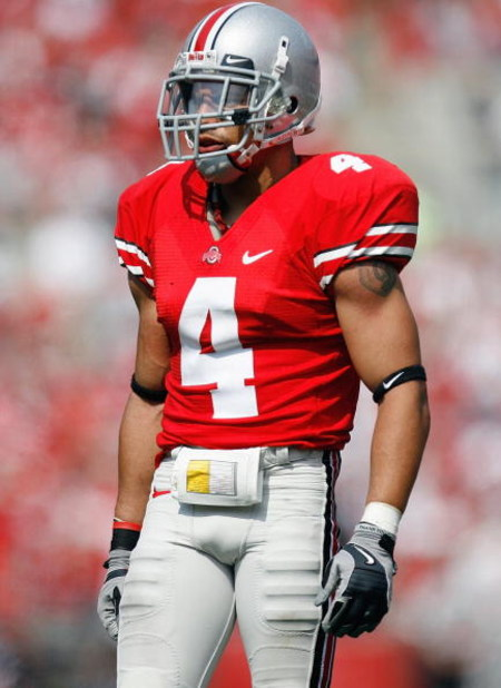 COLUMBUS, OH - SEPTEMBER 20: Kurt Coleman #4 of the Ohio State Buckeyes walks on the field during the game against the Troy Trojans on September 20, 2008 at Ohio Stadium in Columbus, Ohio. Ohio State won the game 28-10. (Photo by Gregory Shamus/Getty Imag
