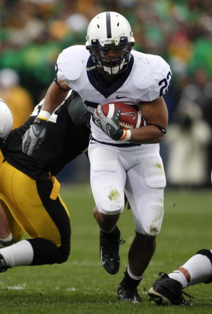 IOWA CITY, IOWA - NOVEMBER 8: Penn State Nittany Lions runningback Evan Royster #22 rushes for yards against the Iowa Hawkeyes at Kinnick Stadium on November 8, 2008 in Iowa City, Iowa. Iowa defeated Penn State  24-23. (Photo by David Purdy/Getty Images)