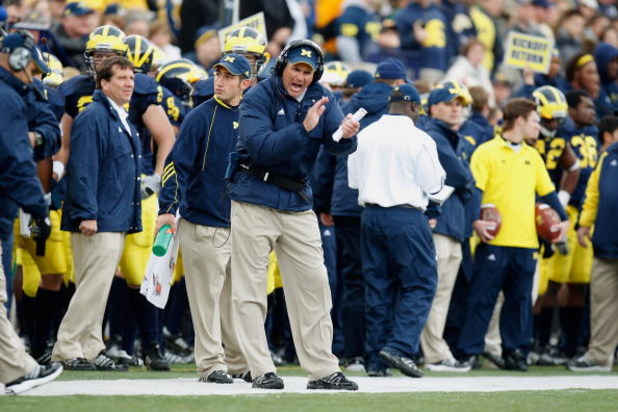 ANN ARBOR, MI - OCTOBER 25:  Head Coach Rich Rodriguez of the Michigan Wolverines watches from the sidelines during the game against the Michigan State Spartans on October 25, 2008 at Michigan Stadium in Ann Arbor, Michigan. Michigan State won the game 35