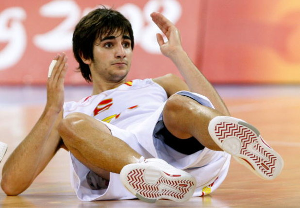 BEIJING - AUGUST 20:  Ricard Rubio #6 of Spain falls during play in the men's basketball quarterfinal game against Croatia at the Olympic Basketball Gymnasium during Day 12 of the Beijing 2008 Olympic Games on August 20, 2008 in Beijing, China.  (Photo by