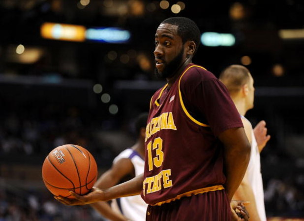 LOS ANGELES, CA - MARCH 13:  Guard James Harden #13 of the Arizona State Sun Devils holds the ball after a play against the Washington Huskies in the Pacific Life Pac-10 Men's Basketball Tournament at the Staples Center on March 13, 2009 in Los Angeles, C