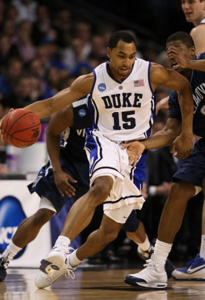 BOSTON - MARCH 26:  Gerald Henderson #15 of the Duke Blue Devils dribbles against the Villanova Wildcats during the NCAA Men's Basketball Tournament East Regionals at TD Banknorth Garden on March 26, 2009 in Boston, Massachusetts.  (Photo by Elsa/Getty Im
