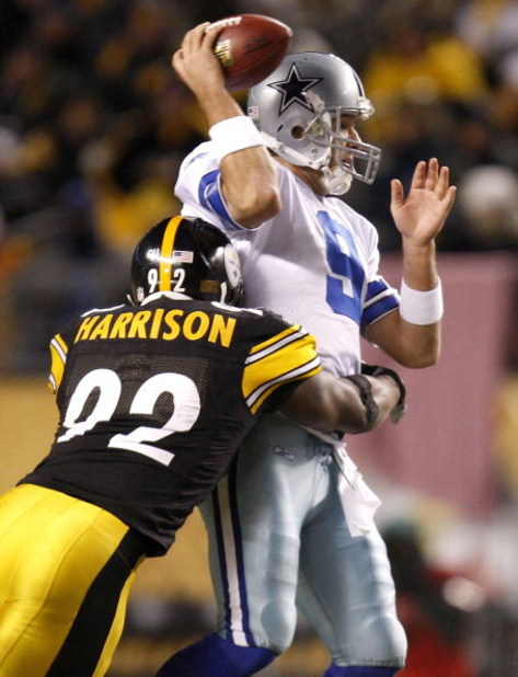 PITTSBURGH - DECEMBER 07: Tony Romo #9 of the Dallas Cowboys is hit by James Harrison #92 of the Pittsburgh Steelers during the second quarter on December 7, 2008 at Heinz Field in Pittsburgh, Pennsylvania.  (Photo by Gregory Shamus/Getty Images)