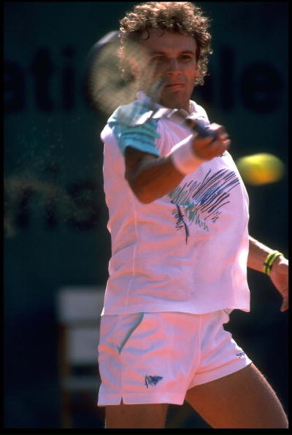 JUN 1988:  MATS WILANDER OF SWEDEN PLAYS A FOREHAND SHOT DURING A MATCH AT THE 1988 FRENCH OPEN PLAYED AT ROLAND GARROS IN PARIS.