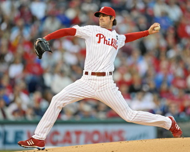 PHILADELPHIA - APRIL 17: Starting pitcher Cole Hamels #35 of the Philadelphia Phillies throws the ball during the game against the San Diego Padres on April 17, 2009 at Citizens Bank Park in Philadelphia, Pennsylvania. (Photo by Drew Hallowell/Getty Image