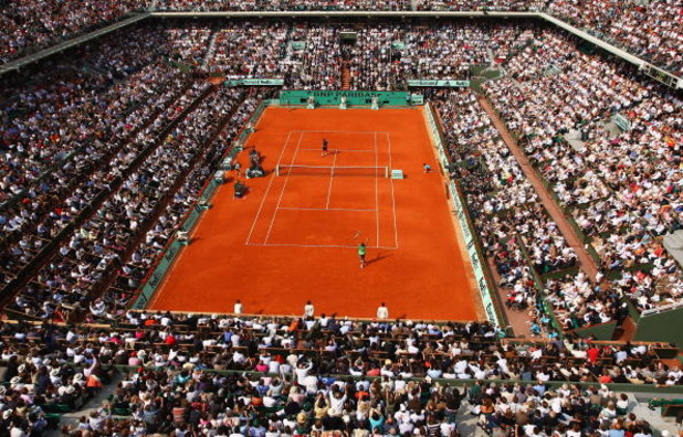 PARIS - JUNE 08:  A general view of Court Philippe Chatrier as Rafael Nadal of Spain celebrates winning matchpoint during the Men's Singles Final match against Roger Federer of Switzerland on day fifteen of the French Open at Roland Garros on June 8, 2008